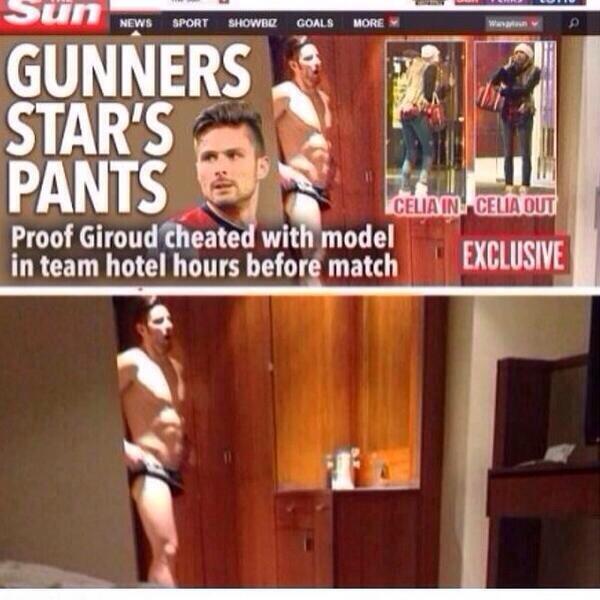 On pouvait y voir l'attaquant d'Arsenal dans une chambre d'hôtel, en slip noir.