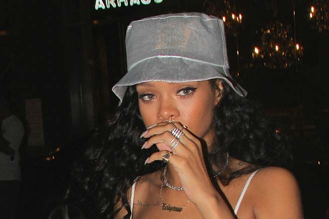 Rihanna seen arriving at VIP Room for her brother Rorrey's album release party