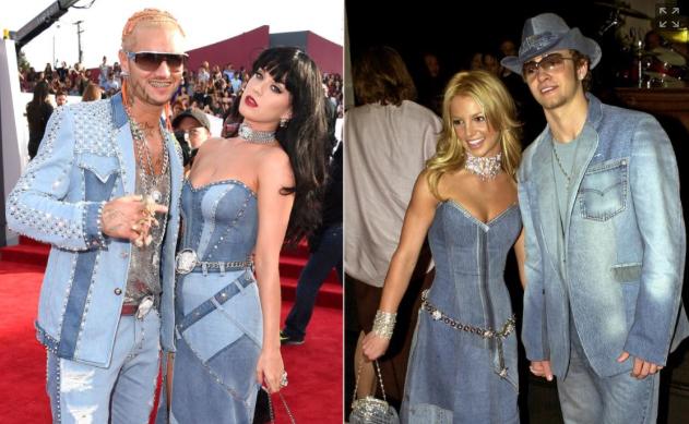 Katy Perry - Britney Spears - Justin Timberlake - custom denim ensembleau MTV VMAs