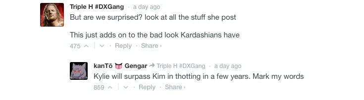 Commentaires sur Kylie Jenner