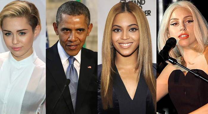 Barack Obama-Miley Cyrus-Beyonce- Lady Gaga
