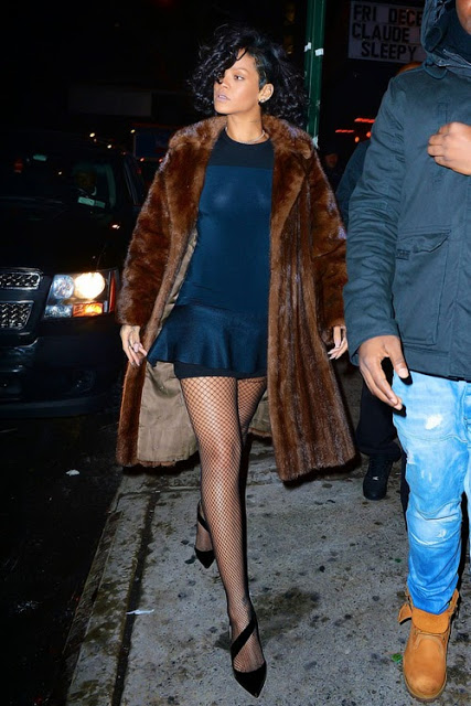 Rihanna-New-York-City-Fur-Coat-Blue-Mini-Dress-and-Christian-Louboutin-Pumps