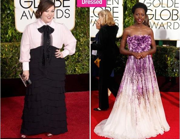Melissa McCarty et Lupita Nyong'o sur le tapis rouge des Golden Globes 2015