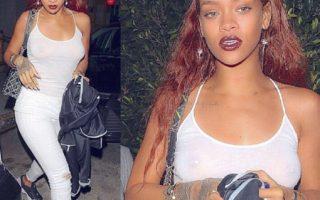 Rihanna sans soutien-gorge à la sortie d'un restaurant