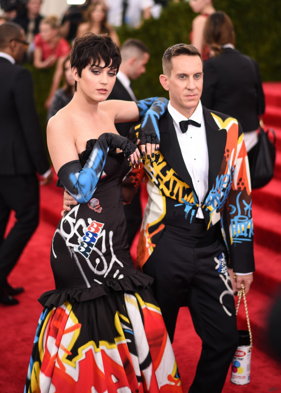 """NEW YORK, NY - MAY 04: Singer Katy Perry and fashion designer Jeremy Scott attend the """"China: Through The Looking Glass"""" Costume Institute Benefit Gala at the Metropolitan Museum of Art on May 4, 2015 in New York City.   Andrew H. Walker/Getty Images for Variety/AFP"""
